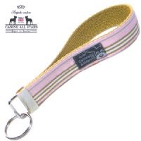 WRISTLET KEYCHAIN - CLASSIC STRIPES PINK BROWN WHITE (RIBBON 25mm)